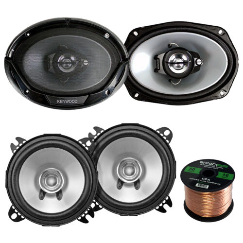"6x9"" Kenwood 400W Speakers,Kenwood 5.25""250W Speakers,16 Gauge 50FT Speaker Wire"