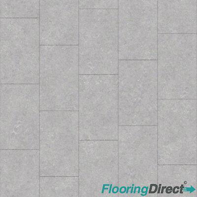 Light Grey Tile Effect Vinyl Flooring Kitchen Bathroom Lino Cushion