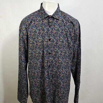 JARED LANG MEN'S GEOMETRIC LONG SLEEVE CASUAL DRESS SHIRT SIZE 17 1/2 A25-20