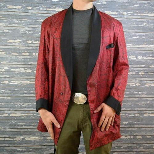 Vintage State O Maine Red Black Smoking Jacket Lounge Wear Blazer Large