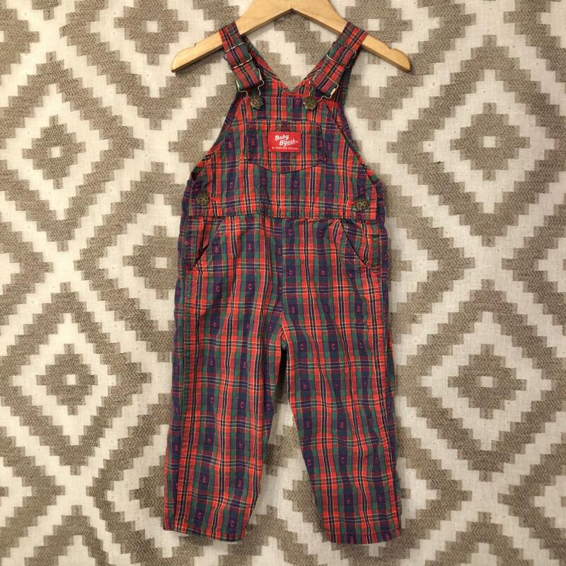 Vintage OshKosh B Gosh Size 24 Month Plaid Alphabet ABC Woven Cotton Overalls