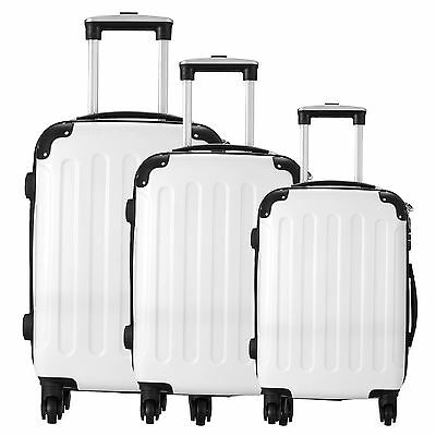 3 Piece Luggage Set White Travel Spinner ABS PC Trolley Carry On Suitcase