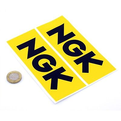 NGK Spark Plugs Stickers Classic Car Racing Decals Vinyl 150mm x2 YELLOW