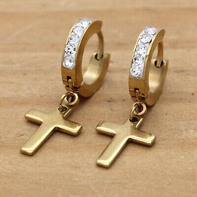 - Mens Gold Stainless Steal Cz 1 Row Huggie Hoop Cross Dangle Earrings