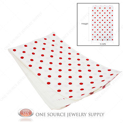 100 Red Polka Dot Paper Bags Gift Bags Merchandise Bags Store Bags 6x 9