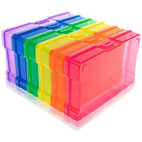 Organizing Storage Holder with 6 Multi-Colored Plastic Photo Storage Cases
