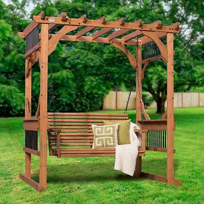 Deluxe Cedar Swing 6.1 Ft. W x 5.6 Ft. D Pergola by Backyard Discovery