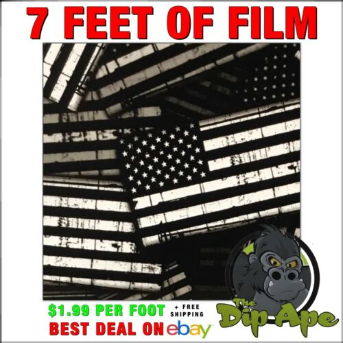 Hydrographic film GARRISON FLAGS AMERICAN black and clear hydro dip dipping 7