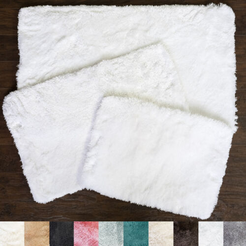 Bath Rug, Non Skid Back, Soft Faux Fur – St. Lucia Prima 3 Piece Set Bath