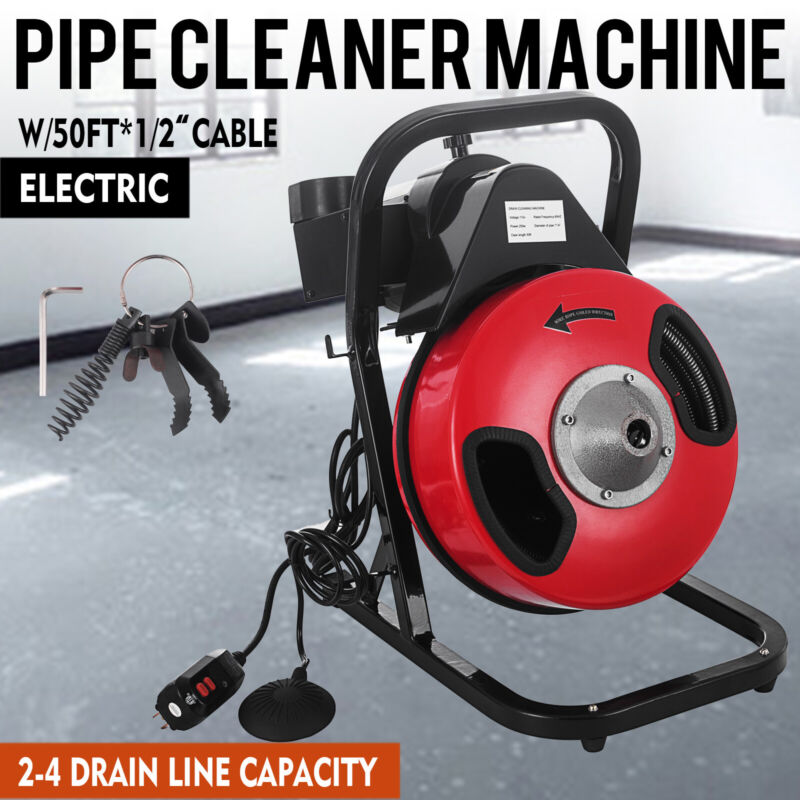 """Electric SEWER SNAKE drain cleaner auger 50 ft long 1/2"""" w/4 different heads"""
