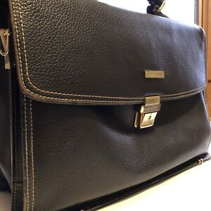 Stylish Men Leather Messenger Briefcase Brooks Brothers