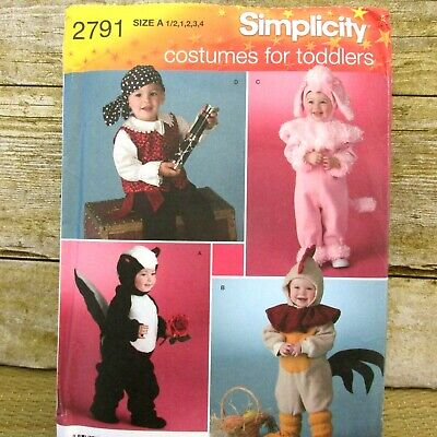 Skunk Costume For Adults (Simplicity 2791 Costumes for Toddlers Pirate Poodle Puppy Skunk Chicken Uncut)