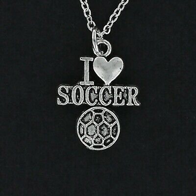 I Heart Soccer Necklace - Pewter Charm Chain Ball Game Football Team Sports NEW