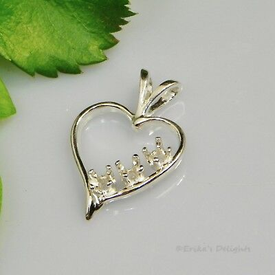 2.5mm (3 Stone) Heart Sterling Silver Pendant Setting (ID#161-243)