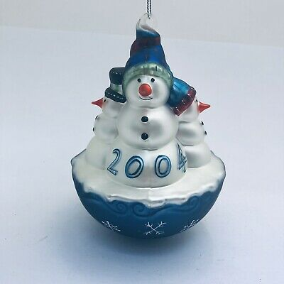 Vintage Blown Glass Ornament Dated 2004 Snowman Christmas Tree Holiday Light Up