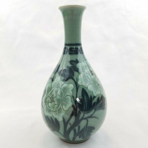 """Vintage Korean Goryeo Celadon Green Crackled Peony Flower Sake Vase 8"""" Signed"""