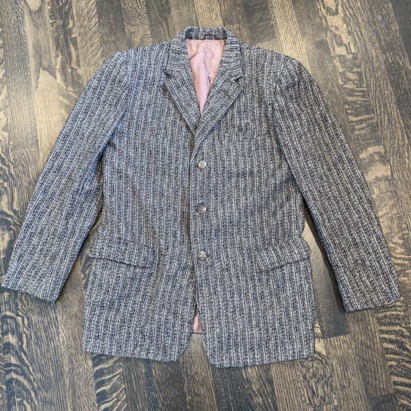 Vtg 60s 70s PENNEYS Wool Blazer Jacket Suit Sport Coat Striped Kids Youth BOYS