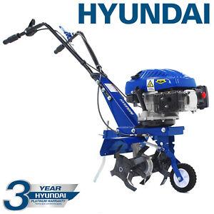 Hyundai 139cc Petrol Garden Tiller 4-Stroke Cultivator Rotovator NO MIX NO MESS