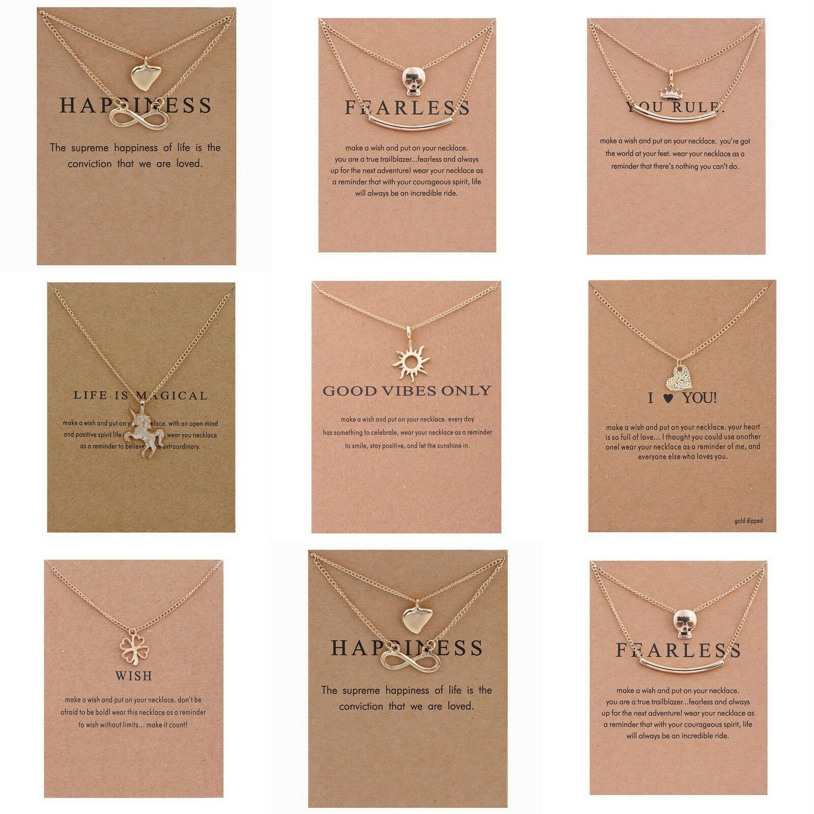 Jewellery - 14K Gold Plated Necklace Chain Pendant Gift Jewellery Hand Made 9 Designs