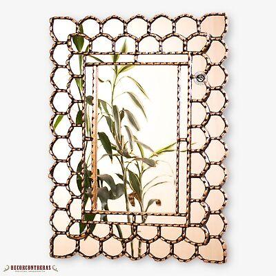 "Gold Rectangle wall Mirror decorative 23.6x17.7""- Peruvian M"