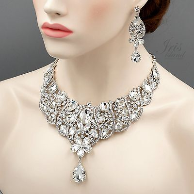 Rhodium Plated Crystal Drop Pendant Necklace Earrings Wedding Jewelry Set 04446