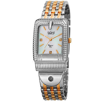 Women's Burgi BUR171TTG Mother of Pearl Diamond Buckle Design Bracelet Watch