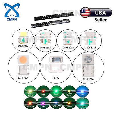 100pcs 0402 0603 0805 1206 3528 Smd Smt Led Light Diodes White Red Rgb Mix Kits