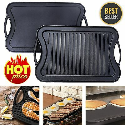 "Reversible Cast Iron Grill Griddle Pan Hamburger Steak Stove Top Fry 17"" x 10"""