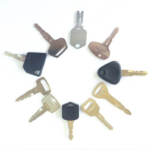 Forklift Key Set 10 keys CAT Clark Komatsu Toyota Doosan Nissan Hyster JCB Yale