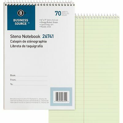 Business Source Steno Notebook Greg Ruled 6x9 70 Sheets Green Paper 26741