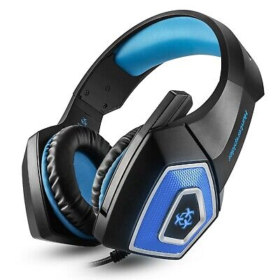 Gaming Headset Mic LED Headphones Stereo Bass Surround For PC Xbox One S PS4 NS