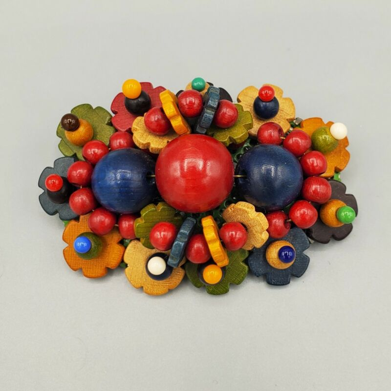 1930s Czech Multi Color Wood & Glass Bead Floral Cluster Brooch