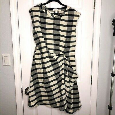 Intropia with Love Womens Size 10 Black White Plaid Gingham Sleeveless Dress