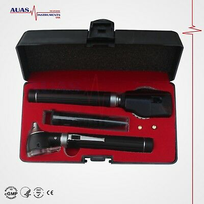 Otoscope Ophthalmoscope Black Fiber Optic Examination Led Ent Diagnostic Set