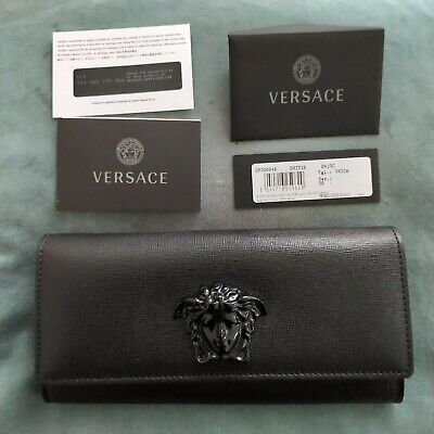 £510 VERSACE Grained black  leather Wallet with  Signature Branding