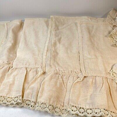 vintage curtain valance set 8 ruffled cream white rod pocket french country