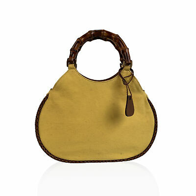 Authentic Gucci Vintage Yellow Canvas Small Bamboo Tote Bag Handbag