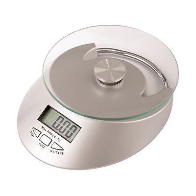 Küchenwaage Lebensmittelwaage mit Uhr silber Kunststoff Zuwiegefunktion Waage