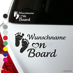 Wunschname on Board Baby Aufkleber Kind an Bord Baby Füße mit Herz viele Farben