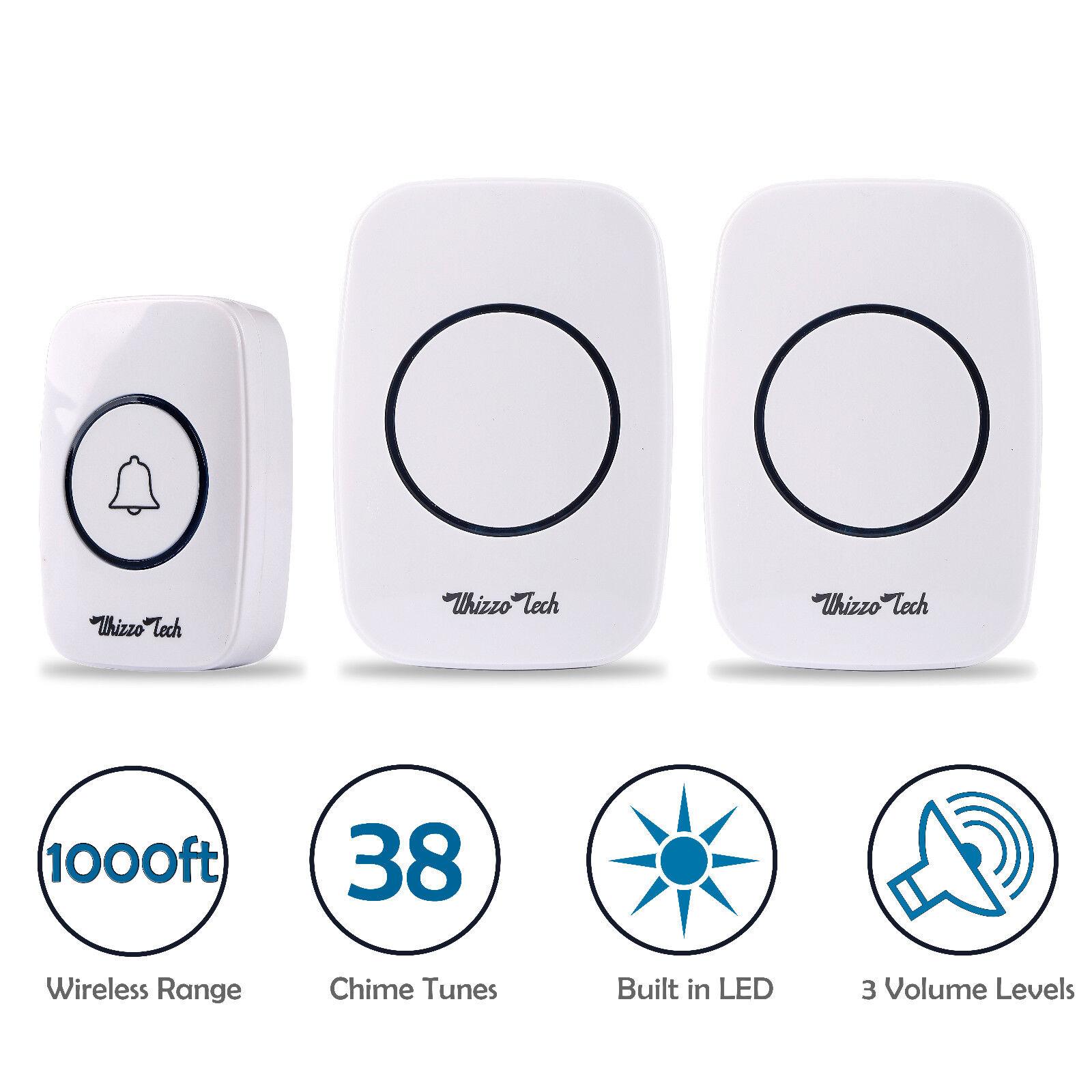 LED 3 Volume 1000FT Wireless Doorbell 38 Chime