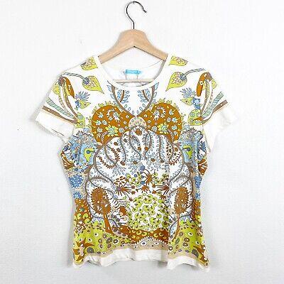 J. McLaughlin Catalina Cloth Floral Print Top Crewneck Short Sleeves L -