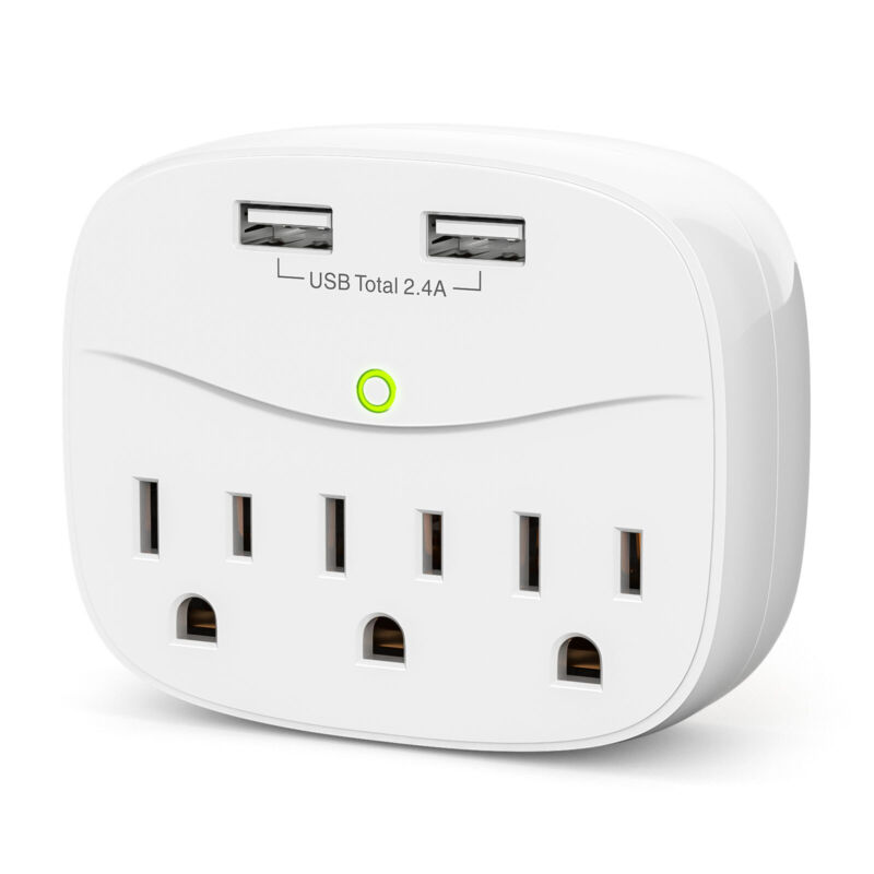 3 Plug Outlet Surge Protector With 2 USB Charging Ports Wall Charger Adapter