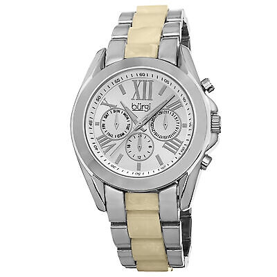 New Women's Burgi BUR094SS Swiss Quartz Multifunction Two-tone Bracelet Watch