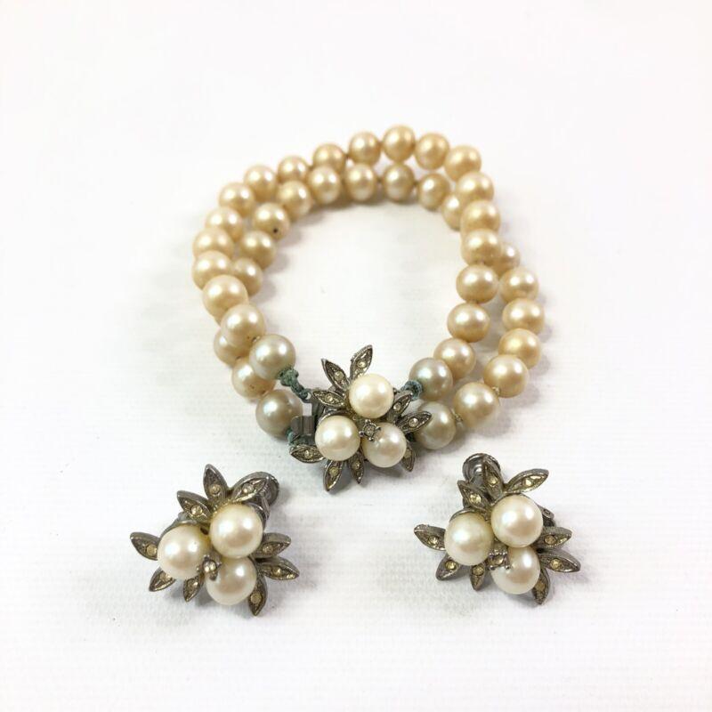 Vintage Faux Pearl Bracelet Earrings Set Clip On Rhinestone Silver Tone