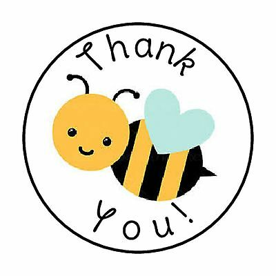 48 Thank You Bumble Bee Envelope Seals Labels Stickers 1 2  Round