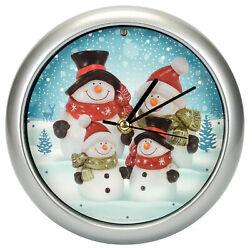 Snowman Family Winter Wonderland Round Silvertone Framed Musical Wall Clock