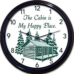 Cabin Lake Cottage Wall Clock Mountains Happy Place Lodge Vacation New 10