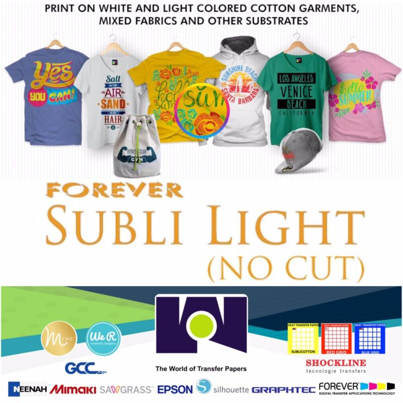 """Forever Subli Light (Not Cut) SELF WEEDING 8.5""""x11"""" 25 Sheets FREE SHIPPING"""