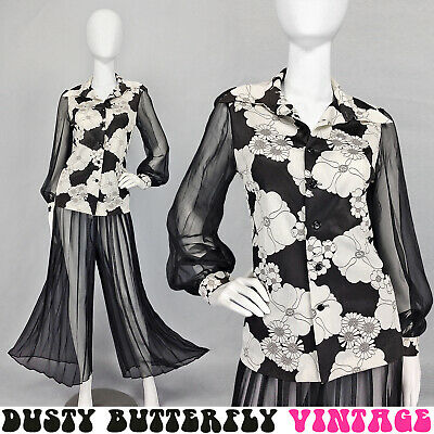 VINTAGE 60s 70s MOD BELL BOTTOM PANTS SET PsYcHeDeLiC Outfit BOHO Flower Power M - 60s Mod Outfits