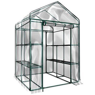 Walk in Greenhouse 8 Shelves with Cover Indoor Outdoor Growing Plants Seedlings